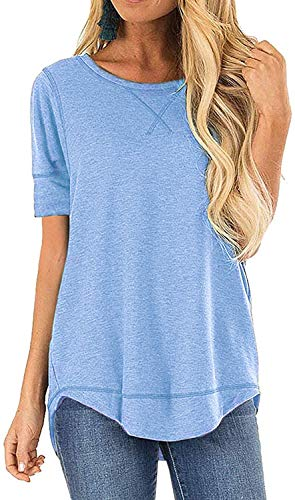 CIZITZZ Cotton Tee Shirt for Women Fall Short Sleeve Lightweight Loose Fit Oversized Tunics Shirts Tops Light Blue XXL