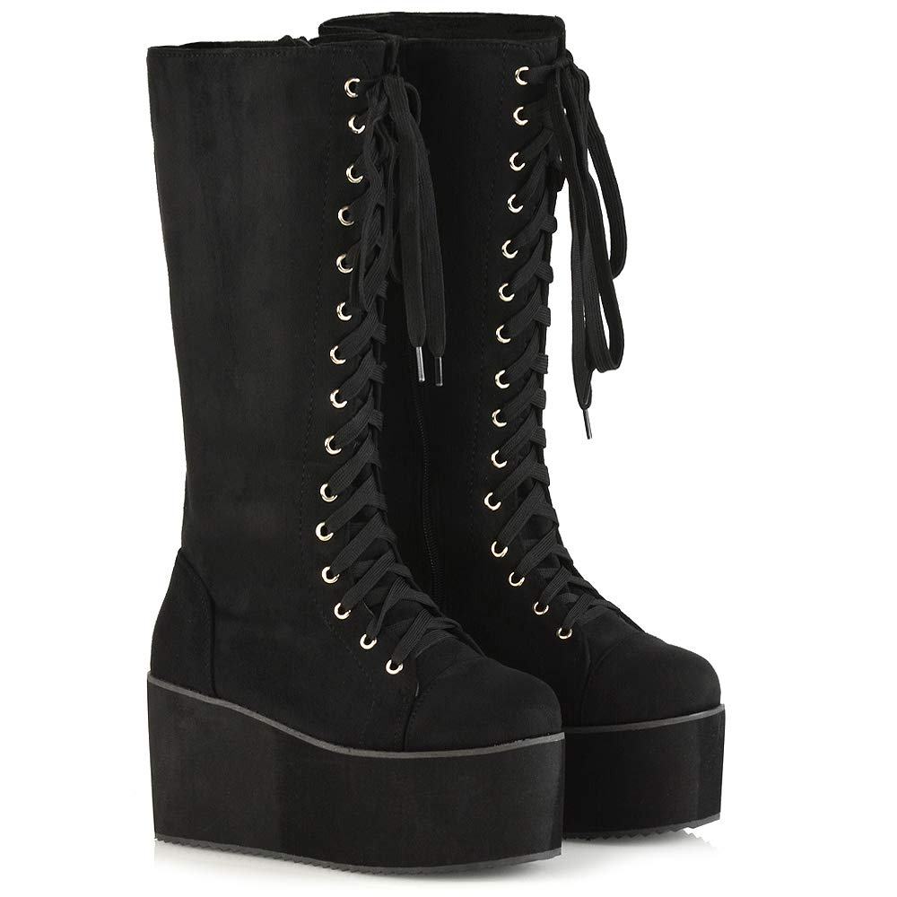 f6bcd704192 ESSEX GLAM Ladies Knee High Platform Wedge Womens Platform Lace Up Biker  Boots Size 3 4 5 6 7 8
