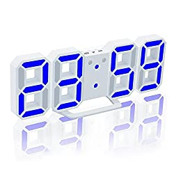 Jumbo Digital LED Wall Clock,ECVISION Electronic Big Digital 3D LED Table Desk Clock Watches 24/12 Hour Display Alarm Snooze Multi-Functional Led Clock LED Brightness Automatically (White, Blue)