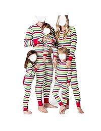 hirigin Matching Family Pajamas PJ Christmas Striped Onesie Sleepwear