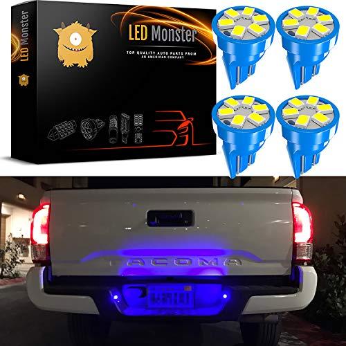 - LED Monster 4x T10 194 Wedge Blue LED Lights Bulbs for License Plate Lamps License Frame Tag Number Plate (4)