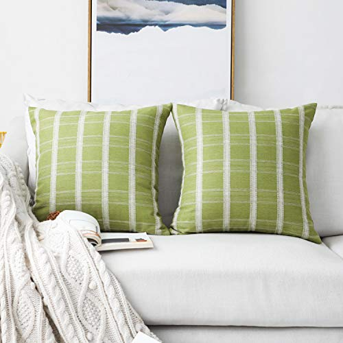 HOME BRILLIANT 2 Packs Euro Sham Pillow Cover Decorative Green Cushion Covers for Sofa Bed Room, 24 x 24 inches(60x60cm), Lime Grass (Pillows Green Lime Bed)