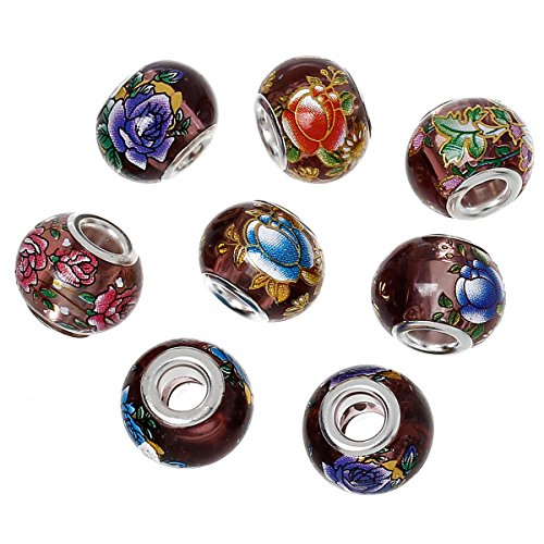 housweety-european-style-charm-glass-beads-drum-puce-at-random-flower-clear-14x11mm-10pcs