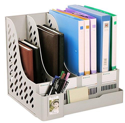 Plastic 4 Compartments File Rack Paper Holder Desktop File Sorter Magazine Book Holder (Proper Paper Holder)