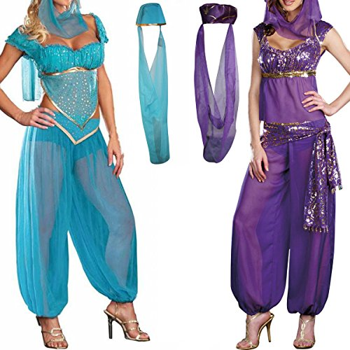 H88 Jasmine Genie Belly Women Dancer Arabian Nights Fancy Dress Costume