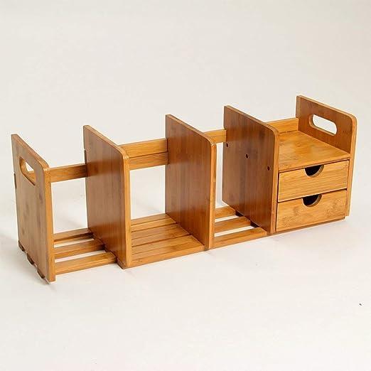 LQqqin Caja de Almacenamiento de Escritorio Ampliable de bambú con ...