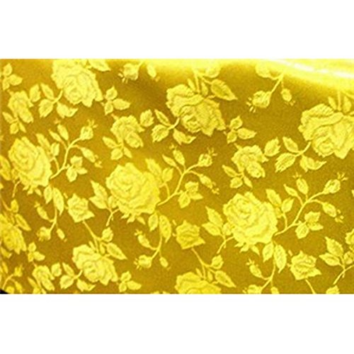 (Floral Jacquard Brocade Satin Fabric by the Yard (Yellow))