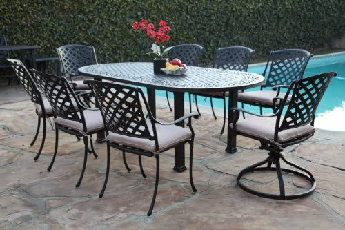 Outdoor Cast Aluminum Patio Furniture 9 Piece Dining Set AO with 6 Armchair 2 Swivel Rockers CBM1290