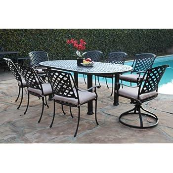 Amazon.com: Outdoor Cast Aluminum Patio Furniture 9 Piece ...