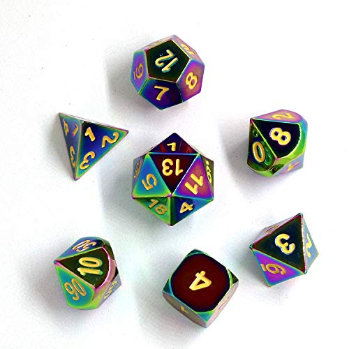 TLL TECHNOLOGY Metal Game Dice Zinc Alloy Metal Polyhedral 7-Die Dice Set for Dungeons and Dragons RPG Dice Gaming D&D Math Teaching, d20, d12, 2 Pieces d10 (00-90 and 0-9), d8, d6 and d4 (Rainbow)