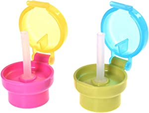 ORYOUGO 2 Pack Portable Spill Proof Juice Soda Water Bottle Twist Cover Cap Safe Drink Straw Sippy Cap