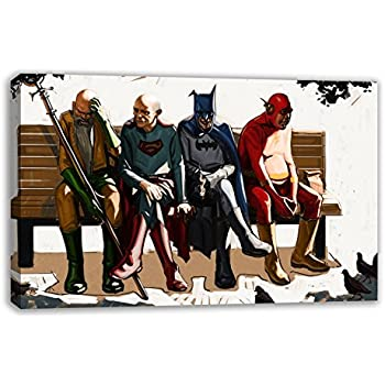 OLD MARVEL DC COMIC ELDERLY SUPERHEROES CANVAS WALL ART (44u201d X 26u201d)
