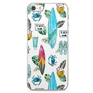 iPhone SE Transparent Edge Phone case Beach Phone Case Beach Life Phone Case Surfboard iPhone SE Cover with Transparent Frame