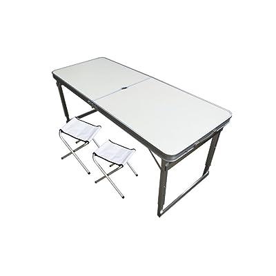 Xing Lin Table Pliable Auto-Tour En Voiture Portable Barbecue Extérieur Table Pliante De Pique-Nique Et Une Chaise Mis En Place Set Table Publicité 120*60*60Cm, 1,2 Mètres Trou Parapluie Blanc