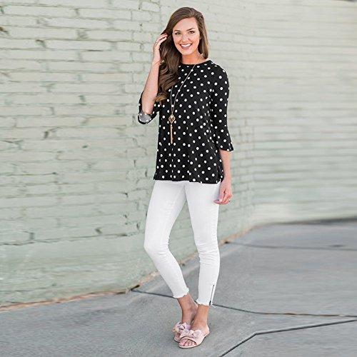 Shirt T Schwarz 2018 Dot Damen Print Shirt T Prime Tops Oansatz Sommer Ärmel Mode Day Amazon Dreiviertel Damen Sale Bluse dxHYfHqa