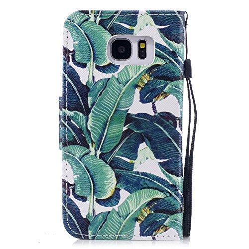 Samsung Galaxy S7 Edge Hülle, Chreey PU Leder Schutzhülle mit Blau Schmetterling Muster Bumper Flip Wallet Case Handyhülle Grün Blätter