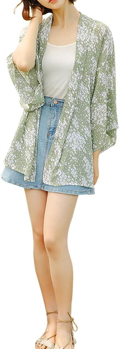 YUFAA Camisa Japonesa de Gasa Suelta con Manga de murciélago Kimono Ropa de protección Solar Blouse (Color : Verde, Size : One Size): Amazon.es: Ropa y accesorios