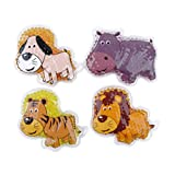 FOMI Gel Bead Hot Cold Pain Relieving Pack for Kids. 4-Pack Fun, Animal Designs. Multi-Use Children's pack for Neck, Knee, Ankle, Arm, Hand, Thigh, Leg. (4