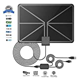 Image of QERY 50 Miles 1080P Digital TV Antenna , Indoor Amplified HDTV Antenna with Detachable Amplifier Signal Booster, USB Power Supply and 16.5FT High Performance Coax Cable - Better Reception … (black)