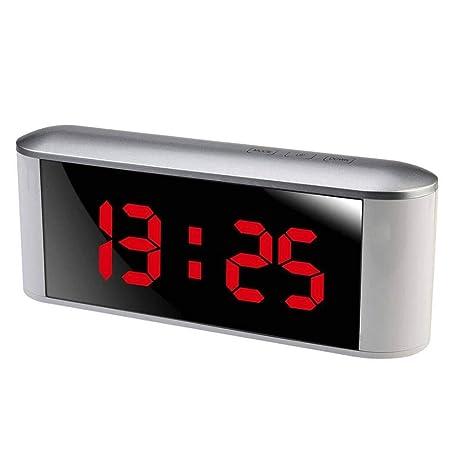 Spiegel USB LED Digital Tisch Uhr mit Temperatur Elektronische Wecker Neu