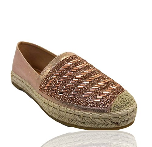RoMaAn's IDeal Fashion Womens Ladies Flat Slip On Studs Espadrilles Rock Sandals Pumps Shoes Size 3-8 Pink Z3rEylY