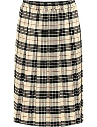 Chocolate Pickle Womens Elasticated Pleated Checked Tartan Print Stretch Midi Skirt