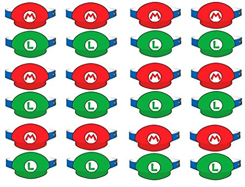 Amscan Super Mario Brothers Birthday Party Paper Visor Hat Favors, Multicolor, 4 3/4