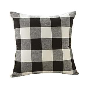 4TH Emotion Black and White Buffalo Checkers Plaids Linen Throw Pillow Cover Decorative Cushion Sham Pillowcase Cushion Case for Sofa 18 x 18 Inch
