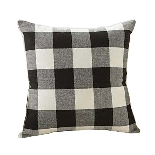 Black and White Buffalo Checkers Plaids Linen Throw Pillow Cover Decorative Cushion Sham Pillowcase Cushion Case for Sofa 18 x 18 (Plaid Decorative Pillow)