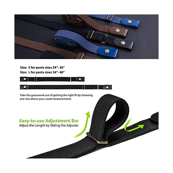 No Buckle Belt for Women/Men – Stretchy Elastic Waist Belts for Jeans Pants