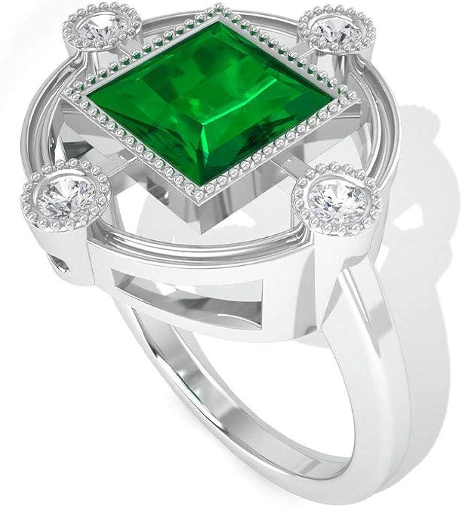 Anillo solitario princesa esmeralda de 1,5 ct, certificado IGI, anillo de compromiso de diamantes, cuentas minimalistas, 10K Oro