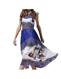 Elastic Chiffon Sleeveless Long Skirt,Multi-colored-S