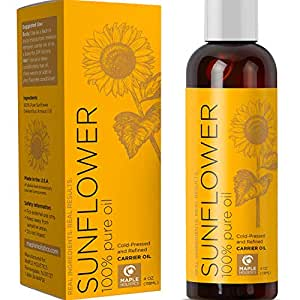100% Pure Sunflower Seed Oil Anti-Aging Natural Skin Care and Hair Conditioner Health Beauty Carrier Oil for Aromatherapy Essential Oils Massage Therapy Oil with Antioxidant Vitamin E Moisturizer