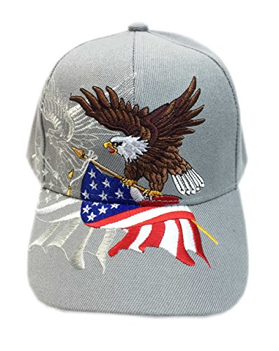 Aesthetinc Patriotic American Eagle and American Flag Baseball Cap USA 3D Embroidery (Gray) -