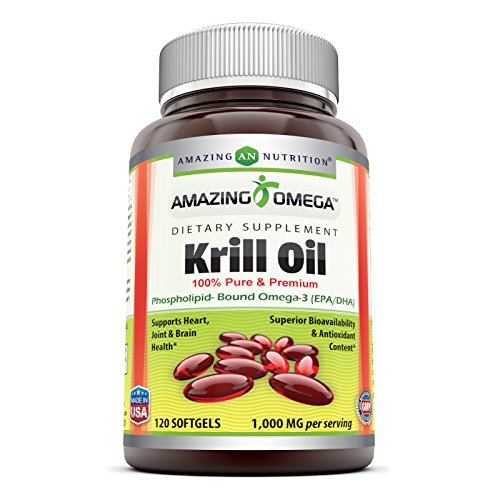 Amazing Omega krill oil 100% pure & premium phospholipid-bound omega-3 120 softgels 1000mg - Supports heart, joint & brain health and superior bioavailability & antioxidant content