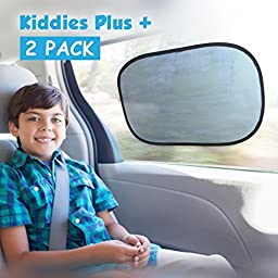 Car Sun Shade (2 Pack) with static cling. Blocks Harmful UV Rays and protects against cancer + FREE carry bag + 4 FREE suction cups. Suitable for baby, car window, windshield, train and home