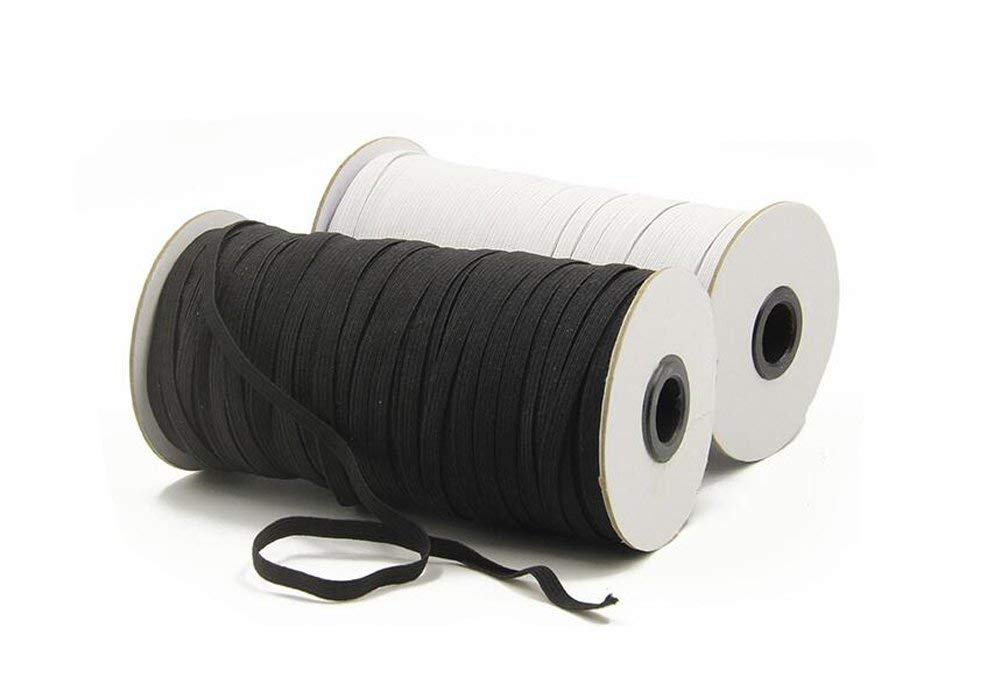 1 Roll//100 Meters Polyester Braided Elastic Cord Rope String Stretch Rubber Cord Thread Band Belt Heavy Stretch Elastic Spool For Sewing Clothing Waistbands Sleeves DIY Accessory Black 3mm//0.12