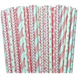 Light Pink Stripe, Polka Dot Chevron Paper Straws 7.75 Inches 100 Pack Light Pink, White