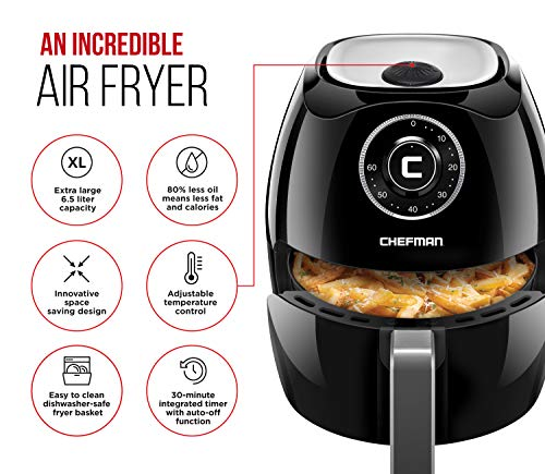 Chefman 6.5 Liter 6.8 Quart Air Fryer with Space Saving Flat Basket Oil Hot Airfryer with Dishwasher Safe Parts 60 Minute Timer and Auto Shut Off, BPA Free, Family Size, X-Large, Manual