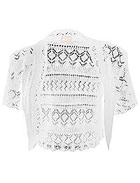 Girls Crochet Bolero Shrug Kids Knitted Short Sleeve Cardigan