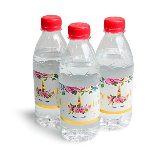 Amazon.com: AMZTM Unicorn Bottle Wraps - Water Bottle Labels Set of 24PCS Magical Unicorn Themed Girls Birthday Party Decorations Baby Shower Wedding ...
