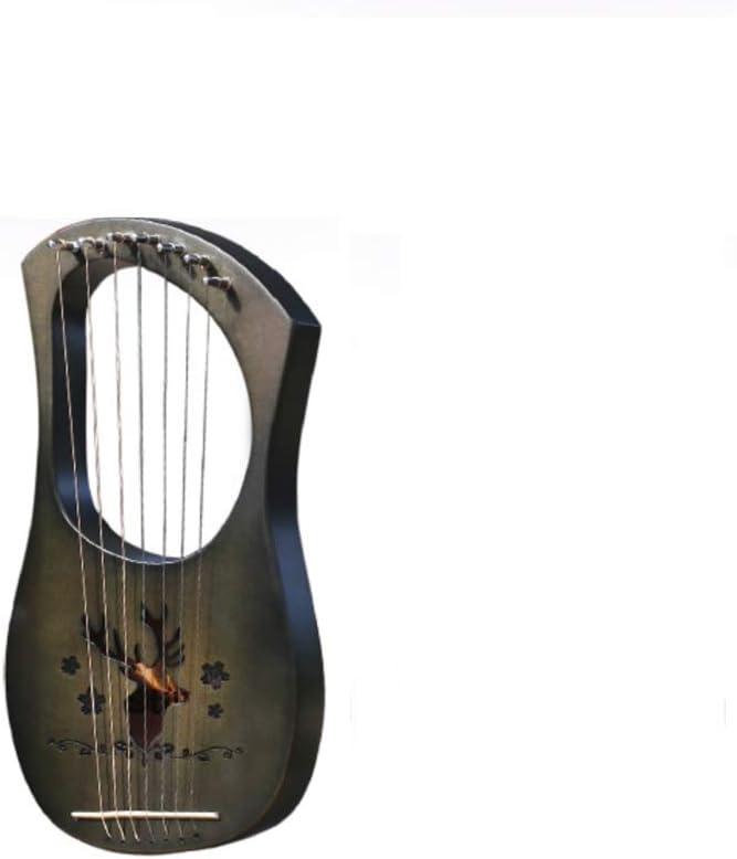 YAN Madera de melocotón 7 Cuerdas de Metal grabadas, Arpa de Flor de melocotón + Estuche/Cuerdas Arpa,Black: Amazon.es: Deportes y aire libre