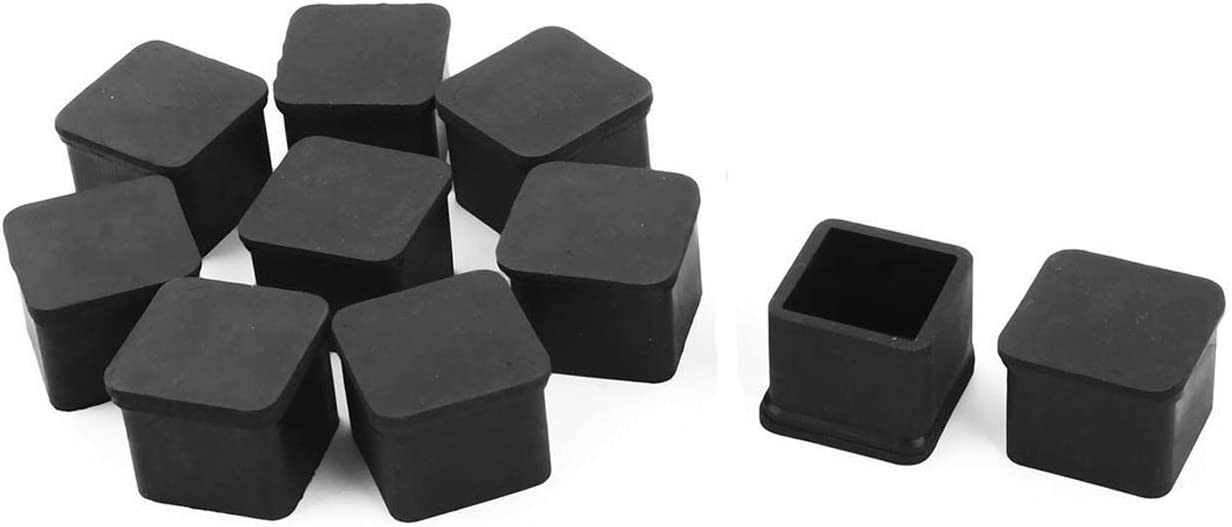 SpeedDa Rubber Square Shaped Furniture Table Chair Leg Foot Cover Cap 1.18 inch x 1.18 inch 8pcs Black