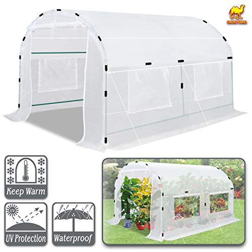 Strong Camel Large Walk-in Plants Greenhouse Portable Garden Hot House w/Combined Cover-White (10′ X7'X6′)