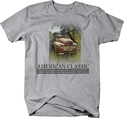American Classic - Farm Truck in a Field Old Ford Chevy Tshirt - Large Heather Grey