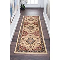 Oriental Floral Medallion Pattern Area Rug, Earthy Western Wild Flowers Design, Runner Indoor Living Room Doorway Hallway Bedroom Carpet, Rustic Nature Lovers Artwork Themed, Cream, Red, Size 23 x 10
