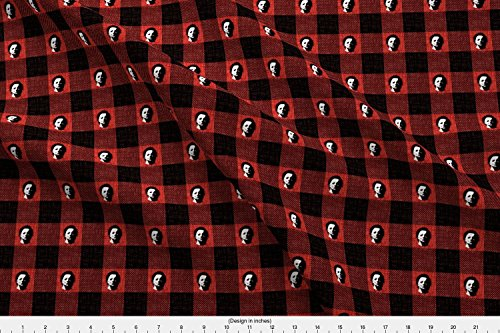 Spoonflower Halloween Fabric Killer Buffalo Check - Mike Myers by Thecalvarium Printed on Performance Piqué Fabric by The Yard -