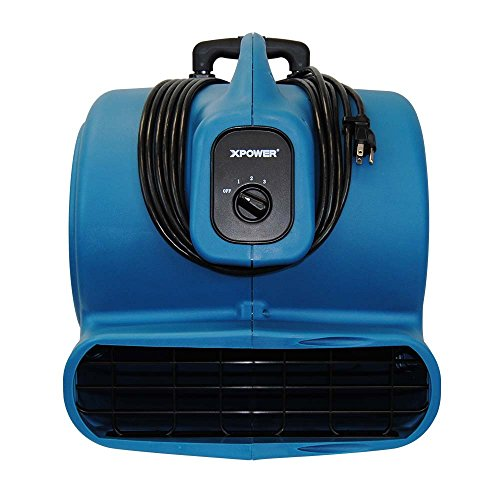XPOWER P-830H 1-HP 1600-CFM 3 Speed Professional Air Mover with Telescopic Handle and Wheels, 8.5-Amp by XPOWER