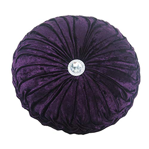 Home Solid Round 13 Inch Pintuck Cushions Plush Handcrafted Pumpkin Decorative Throw Pillow for Sofa Chair Bed Car Decor Purple ()
