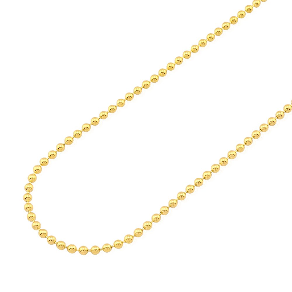 14k Fully Solid Yellow Gold 3mm Ball Beaded Chain Necklace 22-30'', 22